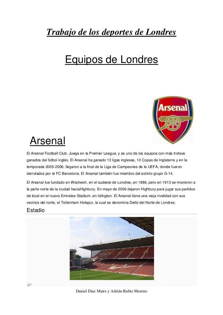 Trabajo de los deportes de Londres                       Equipos de Londres                        quipos ArsenalEl Arsena...