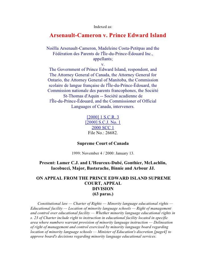 Indexed as:             Arsenault-Cameron v. Prince Edward Island           Noëlla Arsenault-Cameron, Madeleine Costa-Peti...