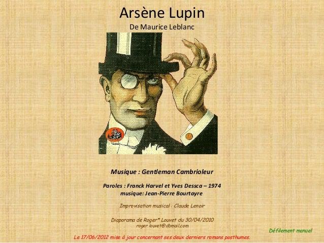 Musique : Gentleman Cambrioleur Paroles : Franck Harvel et Yves Dessca – 1974 musique: Jean-Pierre Bourtayre Improvisation...