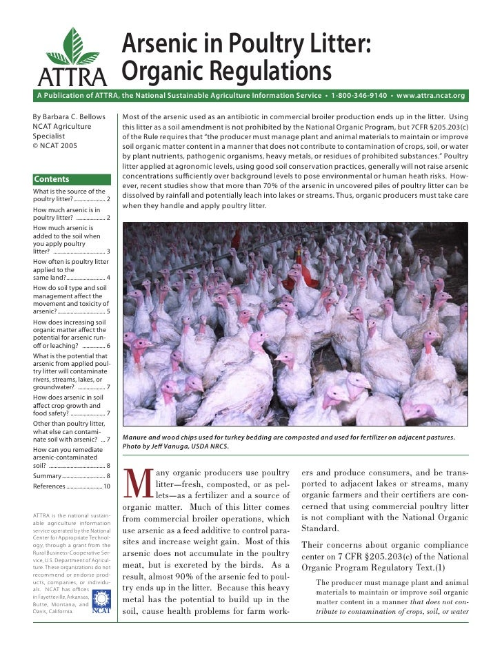 Arsenic in Poultry Litter:   ATTRA Organic Regulations  A Publication of ATTRA, the National Sustainable Agriculture Infor...