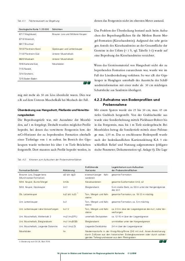18 Arsen in Böden und Gesteinen im Regierungsbezirk Karlsruhe © LUBW  Tab. 4-3: Boden- und Substrattypen  Formation/Schich...