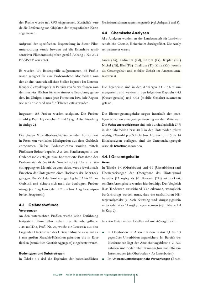 Tab. 4-4: Arsen in Oberböden (Gesamtgehalte) TK 6620: Mosbach, TK 6817: Bruchsal, TK 7018 Pforzheim-Nord, 7118 Pforzheim-S...