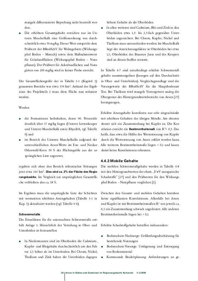 Tab. 4-8: Mobile Schwermetallgehalte im Regierungsbezirk Karlsruhe  Formation  Mächtigkeit vgl. Tabelle 3.1 Schicht  Erhöh...