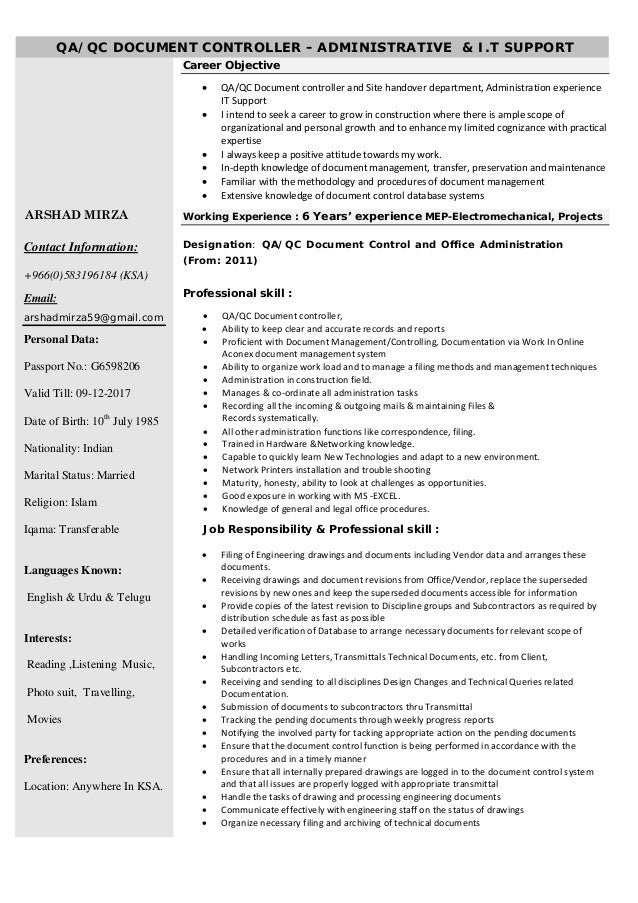 looking for new opportunity in ksa resume arshad mirza qa qc document