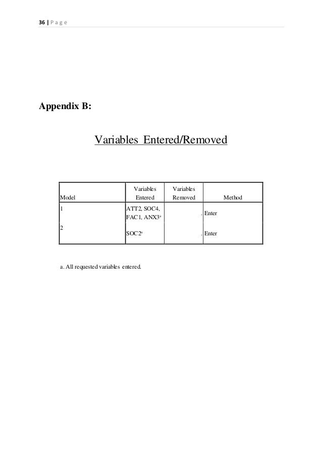 36   P a g e Appendix B: Variables Entered/Removed Model Variables Entered Variables Removed Method 1 ATT2, SOC4, FAC1, AN...