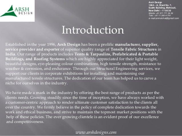 Arsh Design, New Delhi, Tensile Structures Slide 2