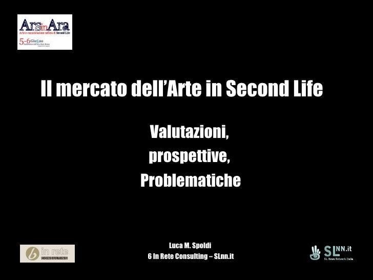 Il mercato dell'Arte in Second Life Valutazioni,  prospettive,  Problematiche Luca M. Spoldi  6 In Rete Consulting – SLnn.it