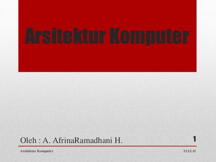 Arsitektur KomputerOleh : A. AfrinaRamadhani H.         1Arsitektur Komputer            13.12.11