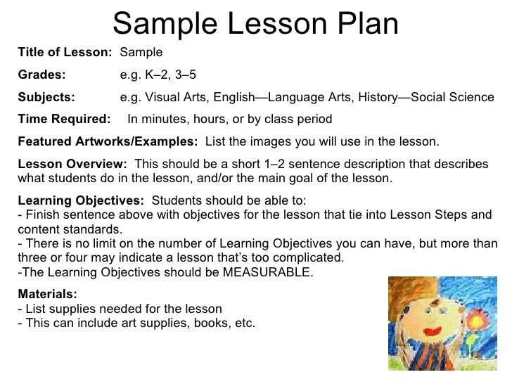 Sample Art Lesson Plans Template Resume Template Ideas