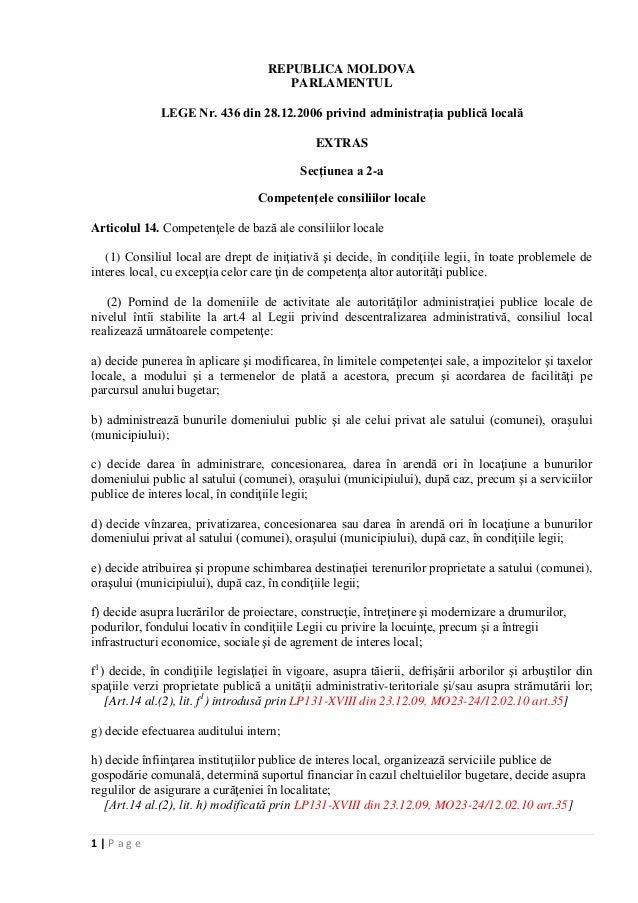 1   P a g eREPUBLICA MOLDOVAPARLAMENTULLEGE Nr. 436 din 28.12.2006 privind administraţia publică localăEXTRASSecţiunea a 2...