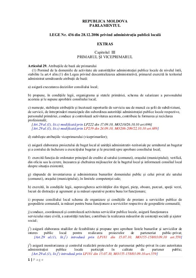 1 | P a g eREPUBLICA MOLDOVAPARLAMENTULLEGE Nr. 436 din 28.12.2006 privind administraţia publică localăEXTRASCapitolul III...