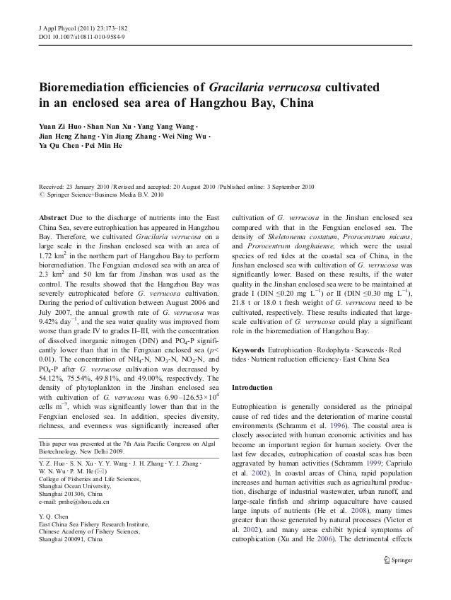J Appl Phycol (2011) 23:173–182DOI 10.1007/s10811-010-9584-9Bioremediation efficiencies of Gracilaria verrucosa cultivated...