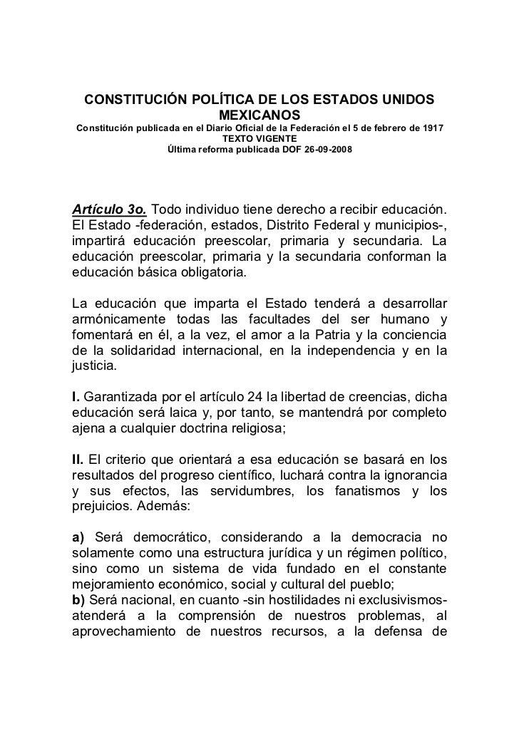CONSTITUCIÓN POLÍTICA DE LOS ESTADOS UNIDOS                  MEXICANOSConstitución publicada en el Diario Oficial de la Fe...