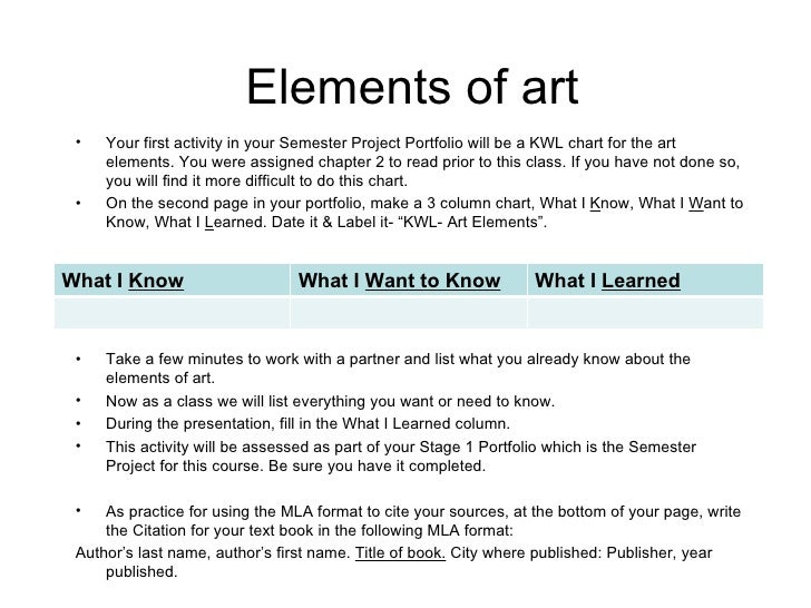 Elements of art <ul><li>Your first activity in your Semester Project Portfolio will be a KWL chart for the art elements. Y...