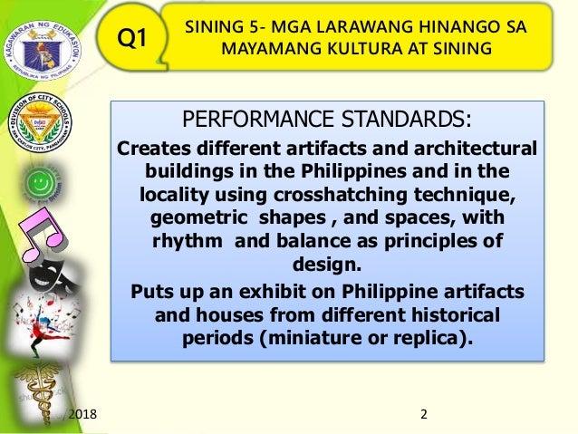 8/16/2018 2 SINING 5- MGA LARAWANG HINANGO SA MAYAMANG KULTURA AT SININGQ1 PERFORMANCE STANDARDS: Creates different artifa...