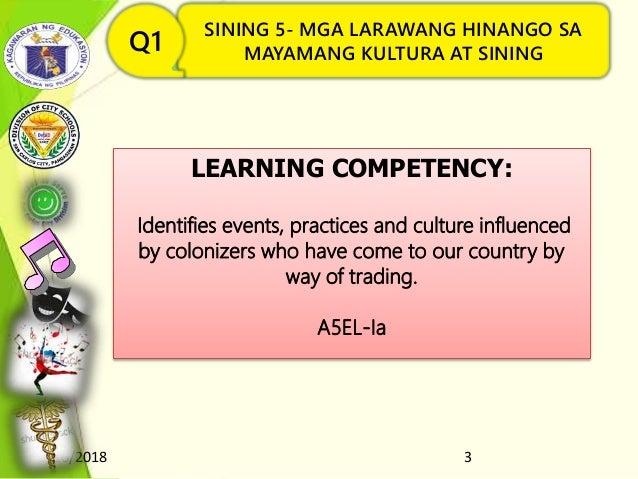 8/16/2018 3 SINING 5- MGA LARAWANG HINANGO SA MAYAMANG KULTURA AT SININGQ1 LEARNING COMPETENCY: Identifies events, practic...