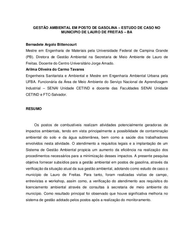GESTÃO AMBIENTAL EM POSTO DE GASOLINA – ESTUDO DE CASO NO                MUNICIPIO DE LAURO DE FREITAS – BABernadete Argol...