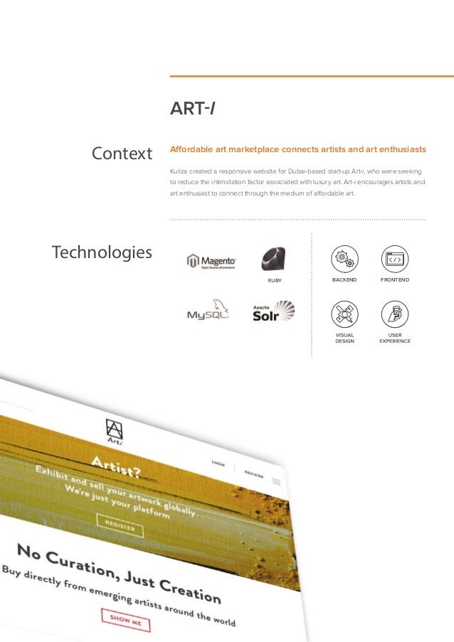 ART-I Context Affordable art marketplace connects artists and art enthusiasts Kuliza created a responsive website for Dubai...