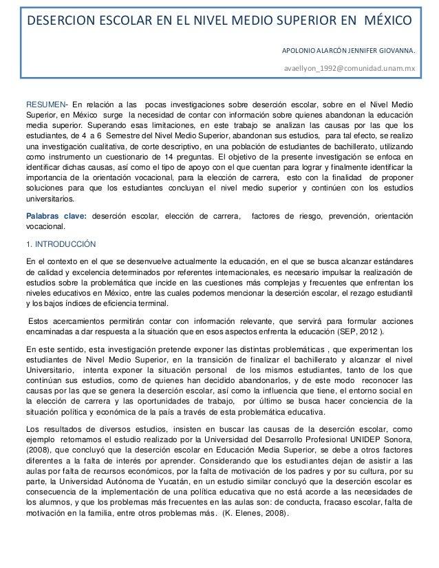 RESUMEN- En relación a las pocas investigaciones sobre deserción escolar, sobre en el Nivel MedioSuperior, en México surge...