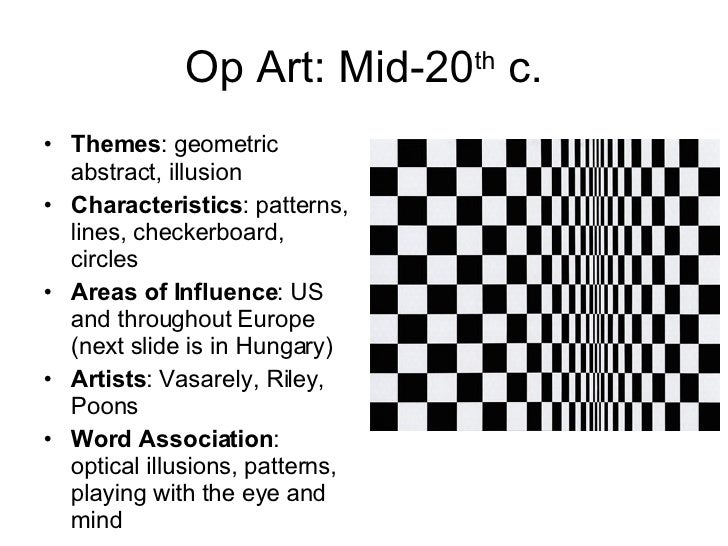 Art Movements Throughout European History – Op Art Worksheet