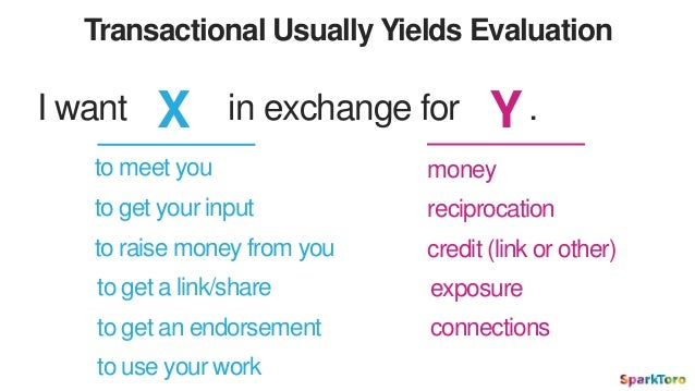Transactional Usually Yields Evaluation I want X in exchange for Y. to meet you to get your input to raise money from you ...