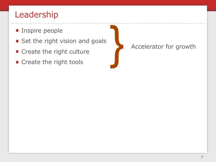 Leadership                                      }  Inspire people  Set the right vision and goals                         ...