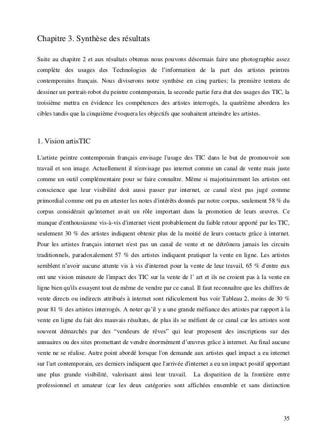 Chapitre 3. Synthèse des résultats Suite au chapitre 2 et aux résultats obtenus nous pouvons désormais faire une photograp...