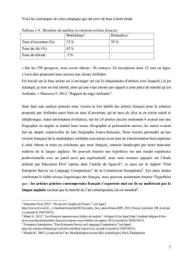 Voici les statistiques de cette campagne qui ont servi de base à notre étude. Tableau 1-4 : Résultats du mailing recruteme...
