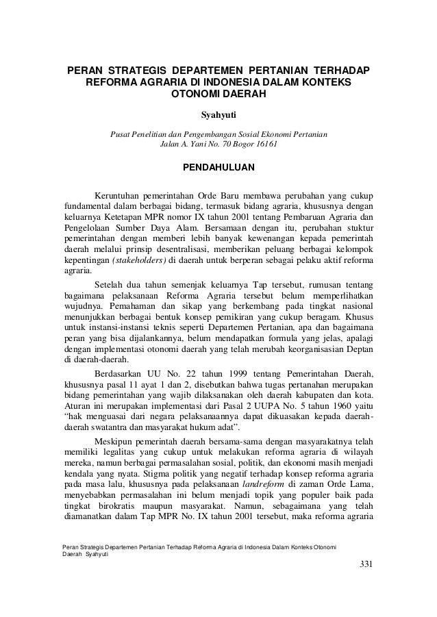 Peran Kementerian Pertanian Dalam Reforma Agraria
