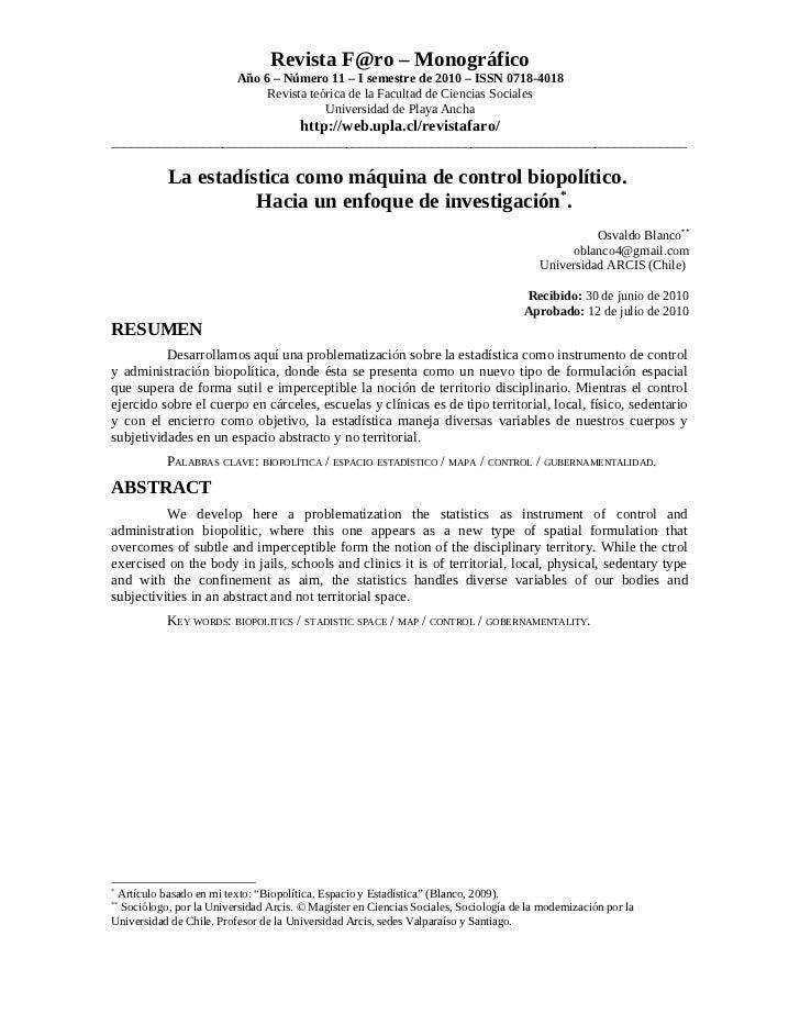 Revista F@ro – Monográfico                          Año 6 – Número 11 – I semestre de 2010 – ISSN 0718-4018               ...