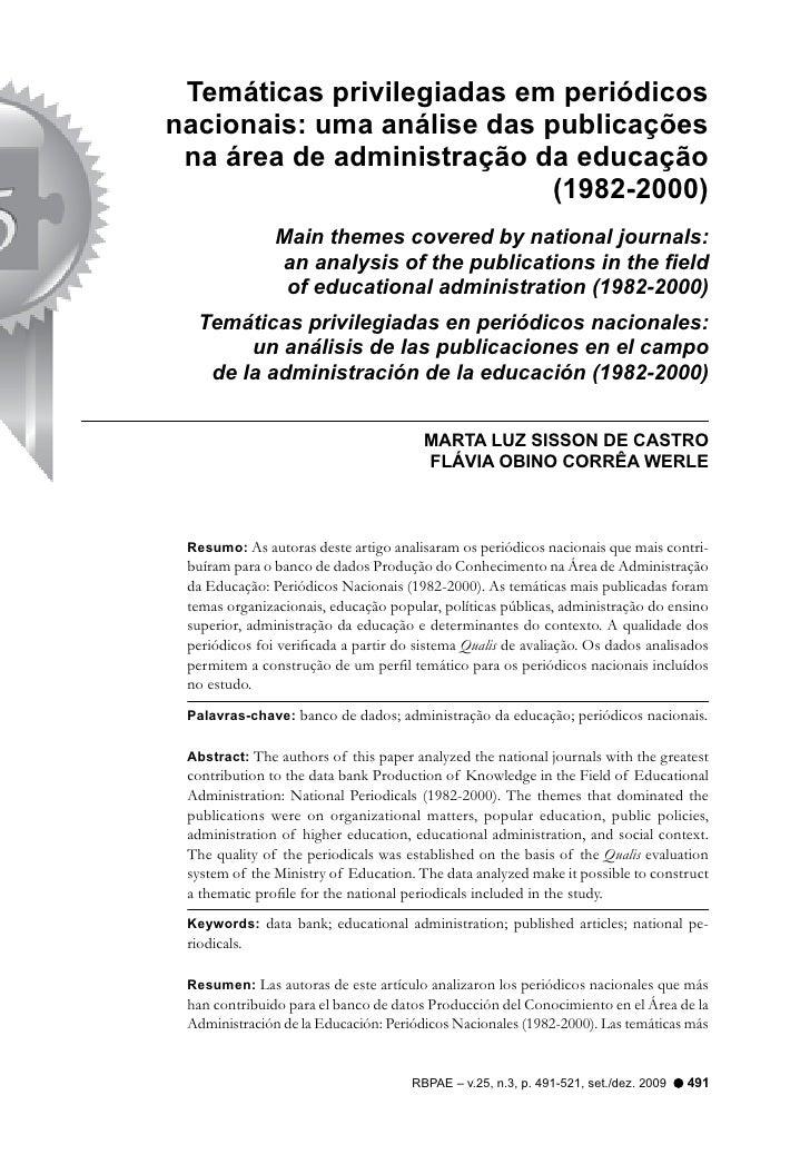 Temáticas privilegiadas em periódicosnacionais: uma análise das publicações na área de administração da educação          ...