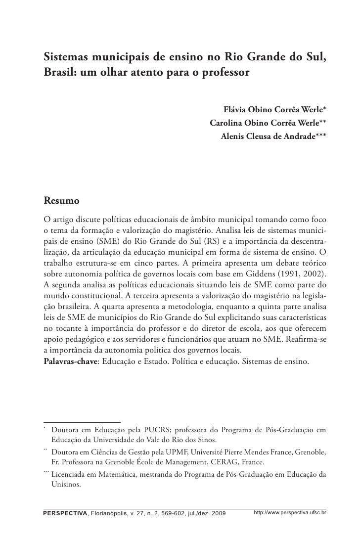 Sistemas municipais de ensino no Rio Grande do Sul, Brasil...                  569Sistemas municipais de ensino no Rio Gra...