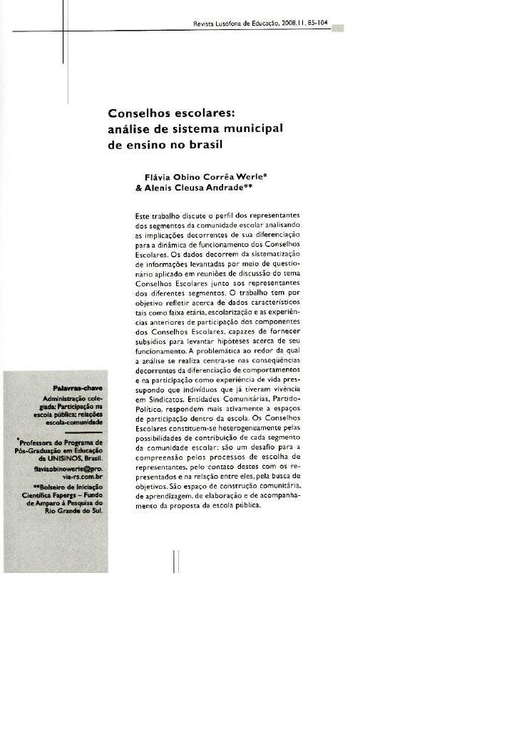 Conselhos Escolares: análise de sistema municipal no Brasil