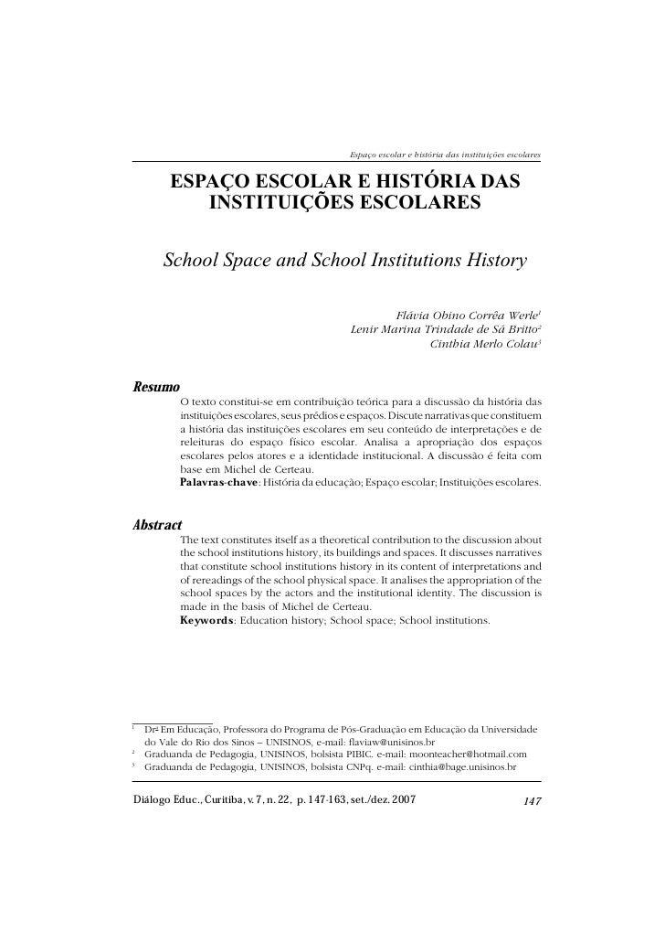 ESPAÇO ESCOLAR E HISTÓRIA DAS                                                 Espaço escolar e história das instituições e...