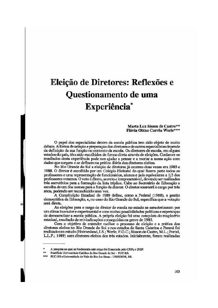 Eleição de Diretores: reflexões e questionamentos de uma experiência.
