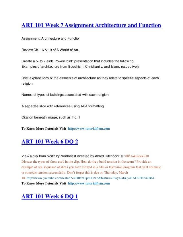 art 101 week 2 art intention checkpoint General art art 101 - discussion questions - week 2 - art101  art 101 week 2 checkpoint and intention: $1000: art 101 week 5 assignment painting styles:.
