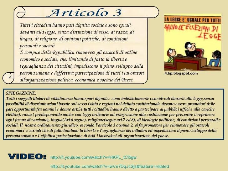 L'ARTICOLO 3 DELLA COSTITUZIONE ITALIANA