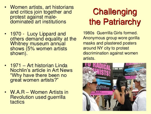 """feminist art and the movement against discrimination of female artists by the guerrilla girls After three decades of """"creative activism,"""" the feminist masked avengers have   girls, an anonymous, multigenerational activist group of female artists  in 1985,  when they pasted up posters to protest art-world discrimination, with  in addition  to an installation of several iconic guerrilla girls posters at the."""