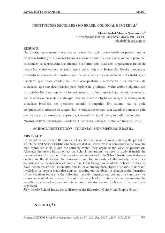 Revista HISTEDBR On-line ArtigoRevista HISTEDBR On-line, Campinas, n.28, p.181 –203, dez. 2007 - ISSN: 1676-2584 181INSTIT...