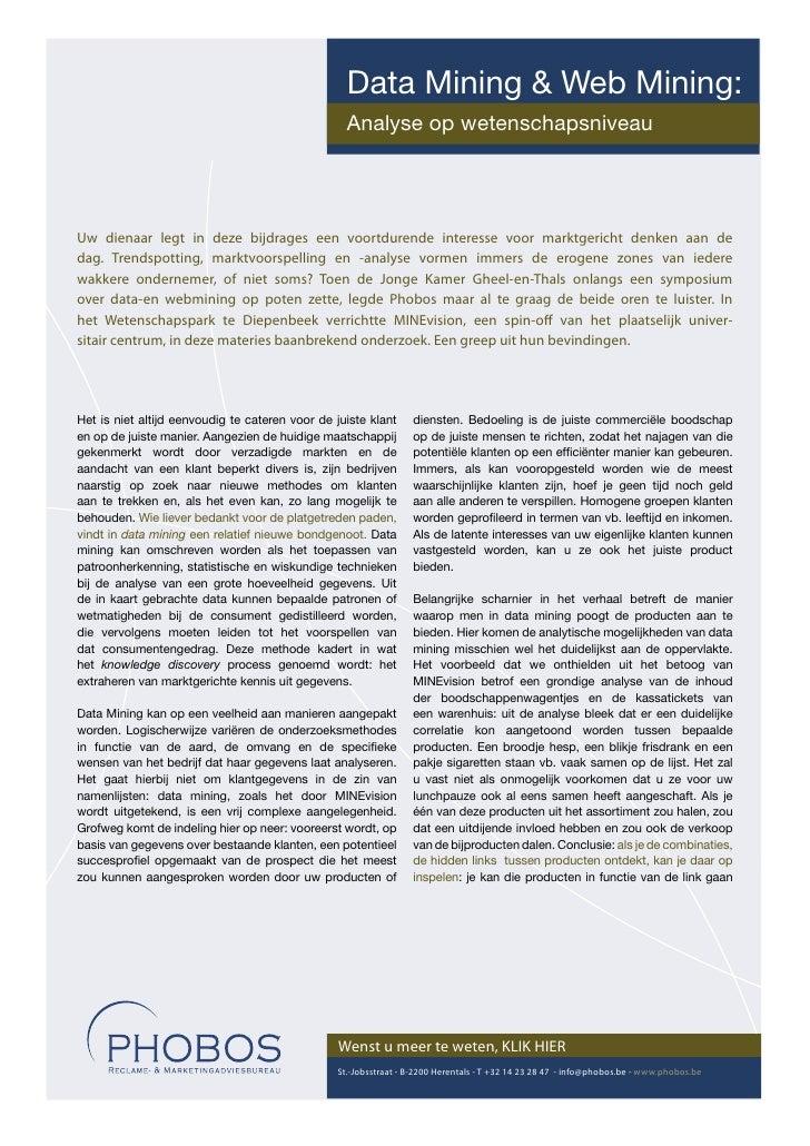 Data Mining & Web Mining:                                                   Analyse op wetenschapsniveau     Uw dienaar le...