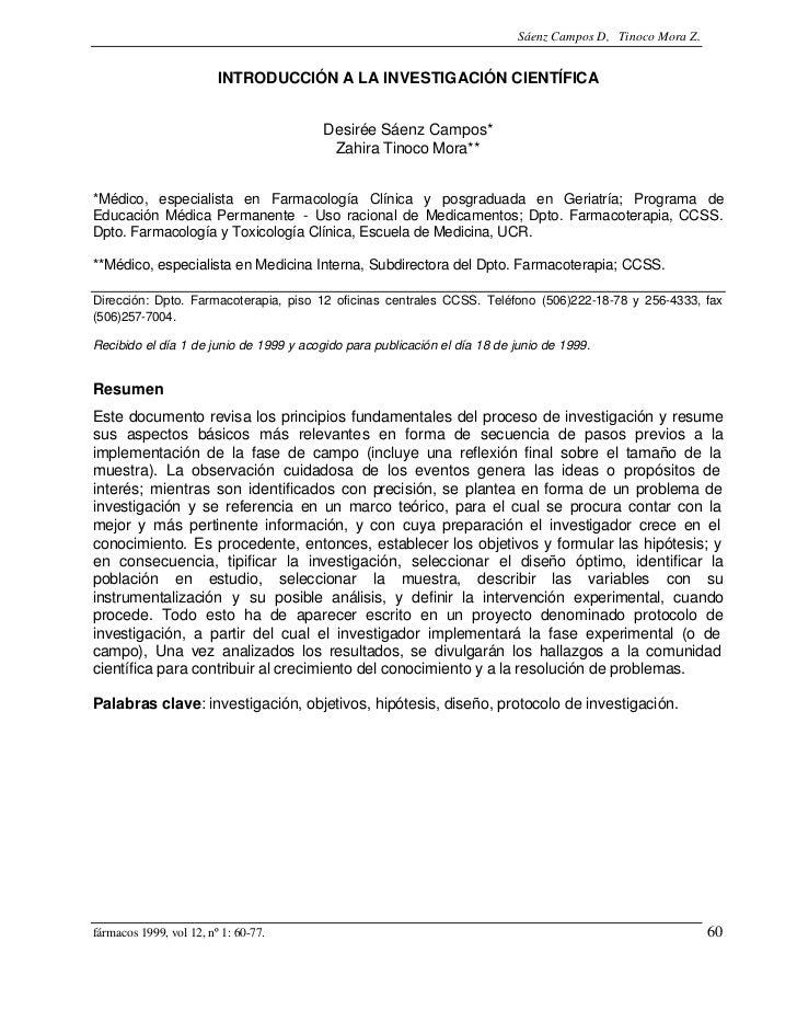 Sáenz Campos D, Tinoco Mora Z.                         INTRODUCCIÓN A LA INVESTIGACIÓN CIENTÍFICA                         ...