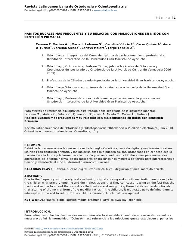 Revista Latinoamericana de Ortodoncia y Odontopediatría Depósito Legal Nº: pp200102CS997 - ISSN: 1317-5823 – www.ortodonci...