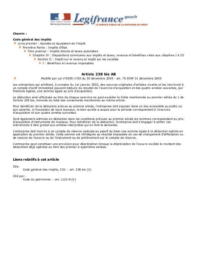 Chemin: Codegénéraldesimpôts Livrepremier:Assietteetliquidationdel'impôt PremièrePartie:Impôtsd'État Titre...