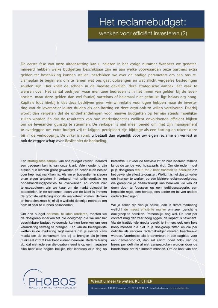 Het reclamebudget:                                                        wenken voor efficiënt investeren (2)     De eerst...