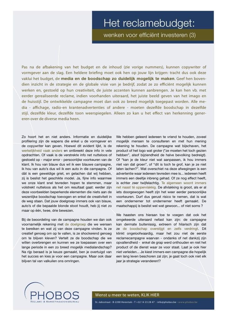 Het reclamebudget:                                                       wenken voor efficiënt investeren (3)     Pas na de...