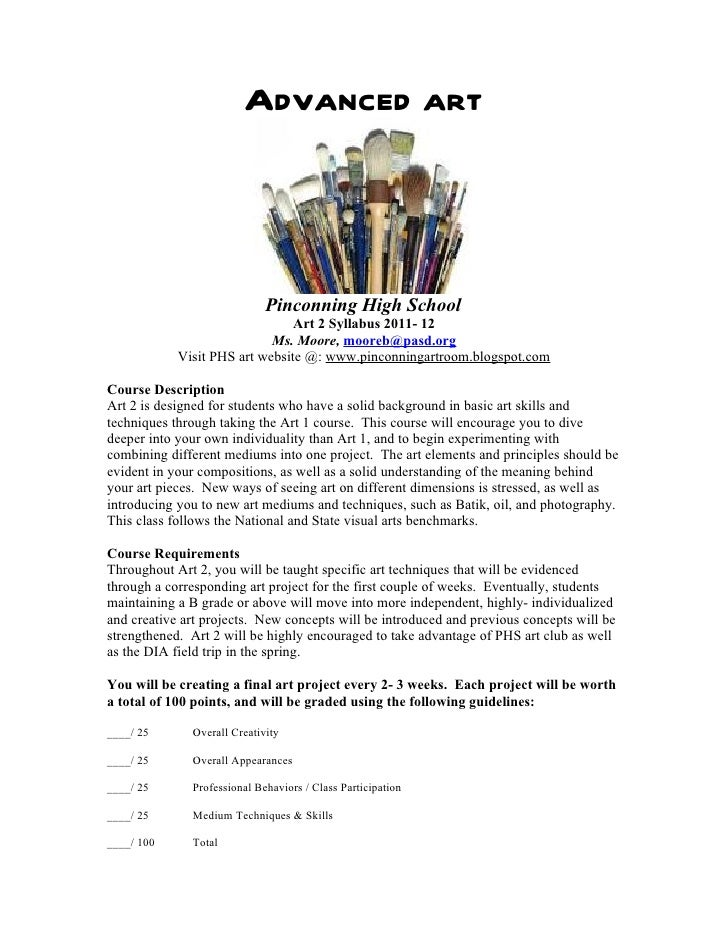 Advanced art                             Pinconning High School                                Art 2 Syllabus 2011- 12    ...