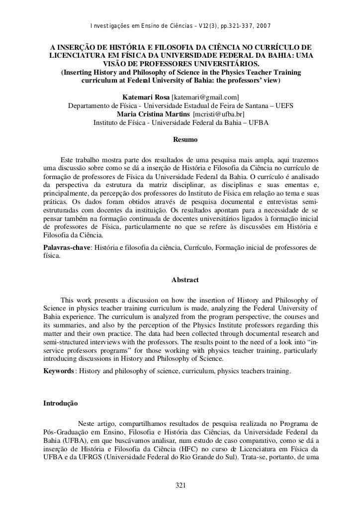 Investigações em Ensino de Ciências – V12(3), pp.321-337, 2007  A INSERÇÃO DE HISTÓRIA E FILOSOFIA DA CIÊNCIA NO CURRÍCULO...