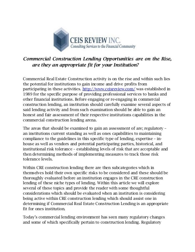 Commercial Construction Lending Opportunities are on the