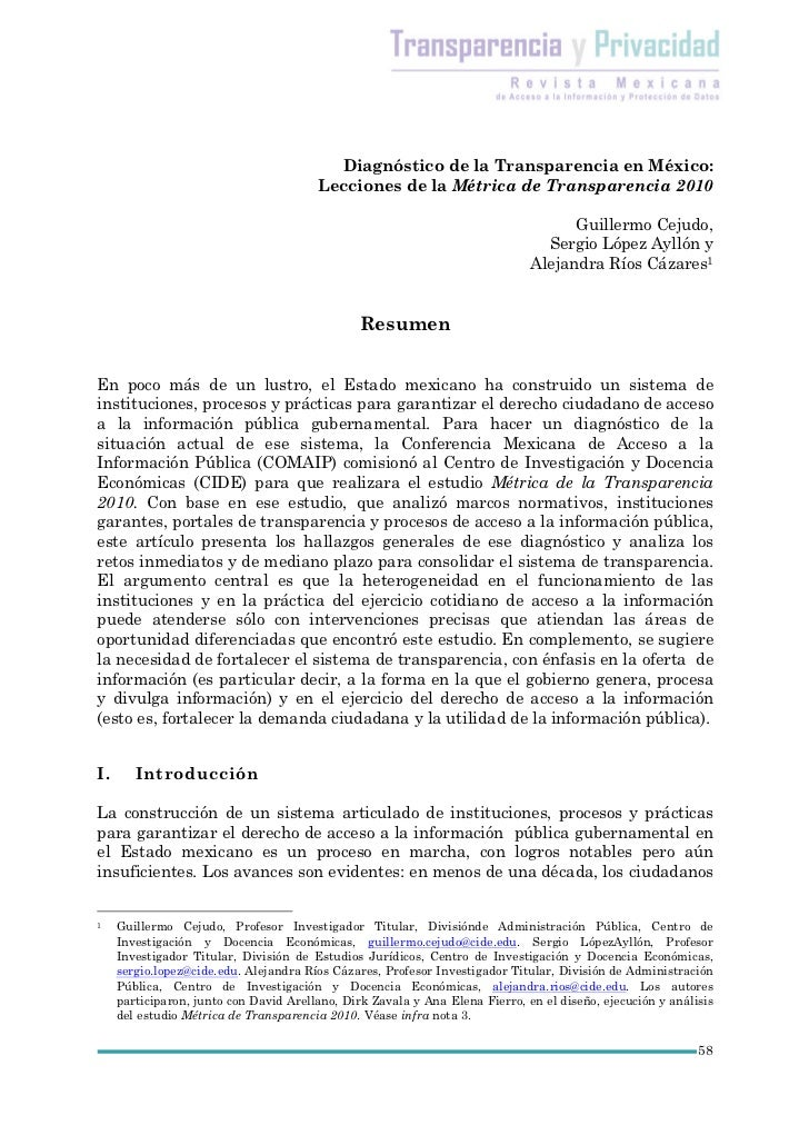 Diagnóstico de la Transparencia en México:                                        Lecciones de la Métrica de Transparencia...