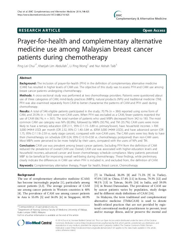prayer for health and complementary alternative medicine use among ma  research article open access prayer for health and complementary alternative medicine use among n